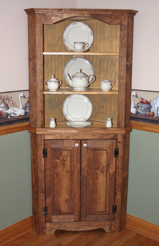 hutch curio corner rustic primitive china by redbudprimitives. Black Bedroom Furniture Sets. Home Design Ideas