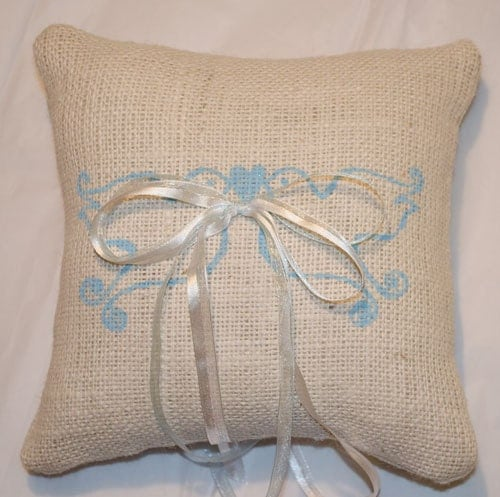 Blue Lovebirds Burlap Ring Bearer Pillow Wedding pillow We do Custom