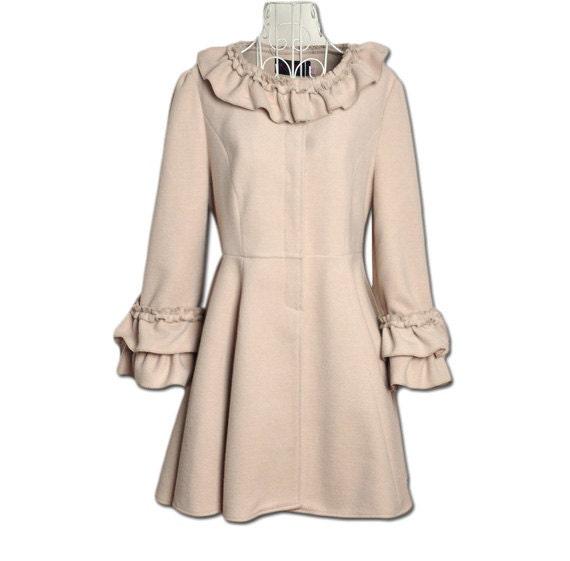 similar to Beige Wool Coat Women Dress Big Bowknot Trench Coats Cute