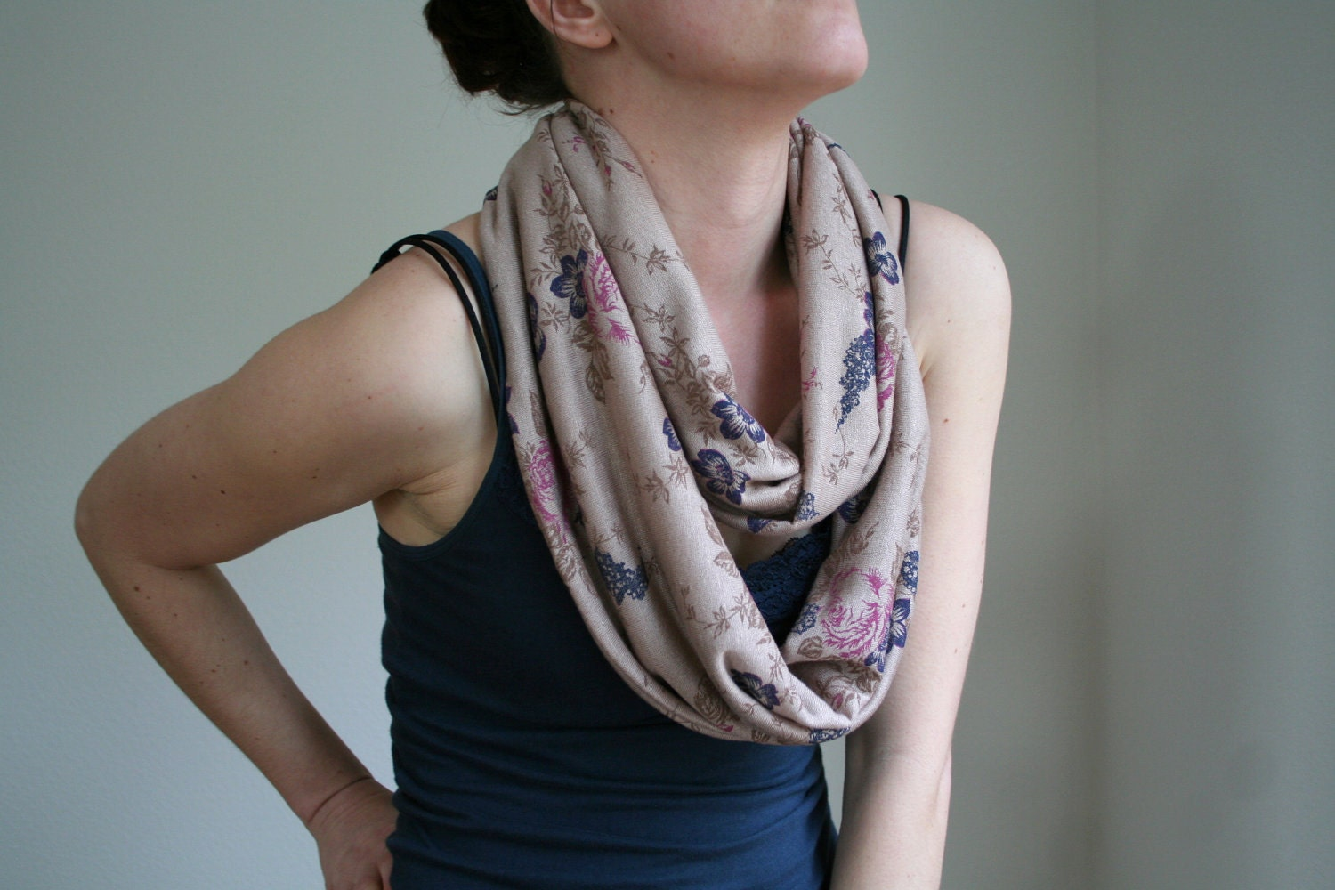 Infinity scarf in roses print on brown - lightweight knit scarf