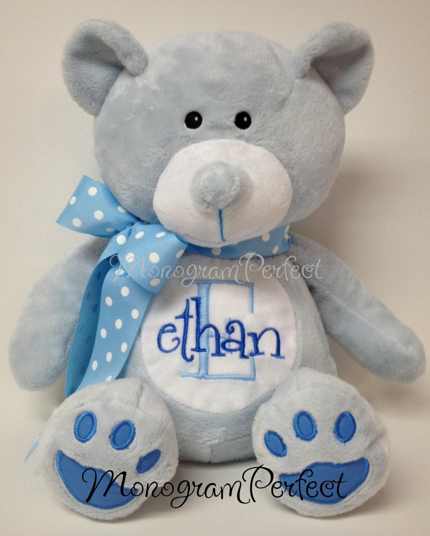 Personalized plush blue bear stuffed animal by