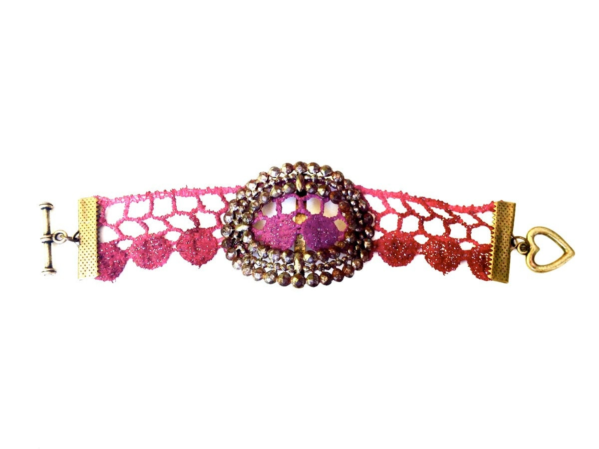 Lace Bracelet Oxblood Burgundy Red Purple Hand Painted - Vintage Metal - WhiteBearAccessories