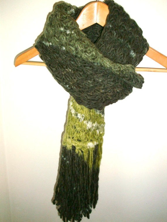 SALE Women Handmade Scarf  Hand Knit Scarf  Green Colour  Long  Homemade Knitted Scarves For Sale