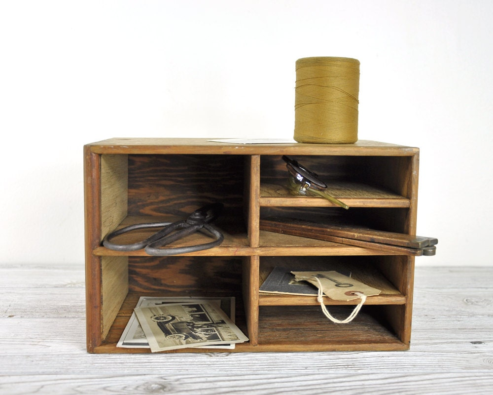 Vintage wood organizer desk organizer by havenvintage on - Wood desk organizer ...