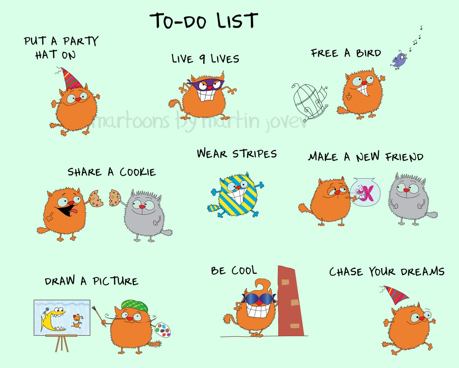 Funny Orange Cats 2014 New Year Resolution or To-Do List Party Be Cool ...