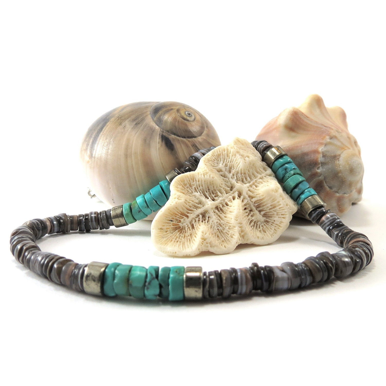 Men's Beaded Necklace of Turquoise, Shell and Pyrite - jagrocks