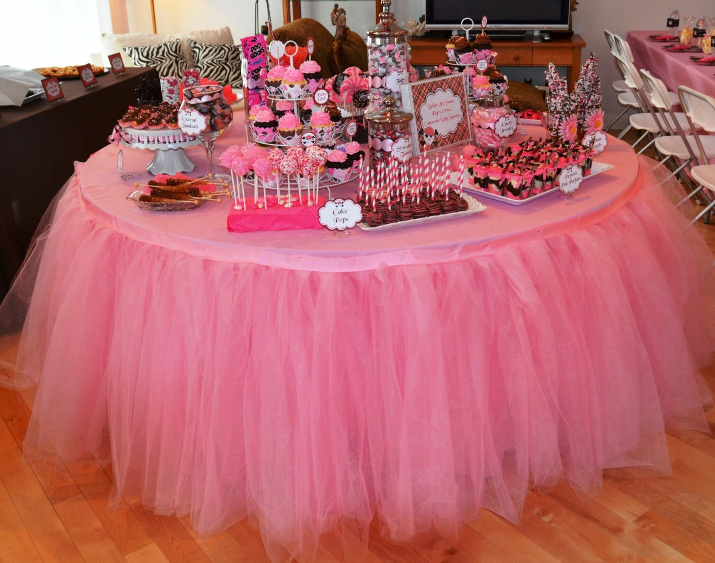 Tulle Table Tutu Skirt YOU PICK COLORS By BaileyHadaParty