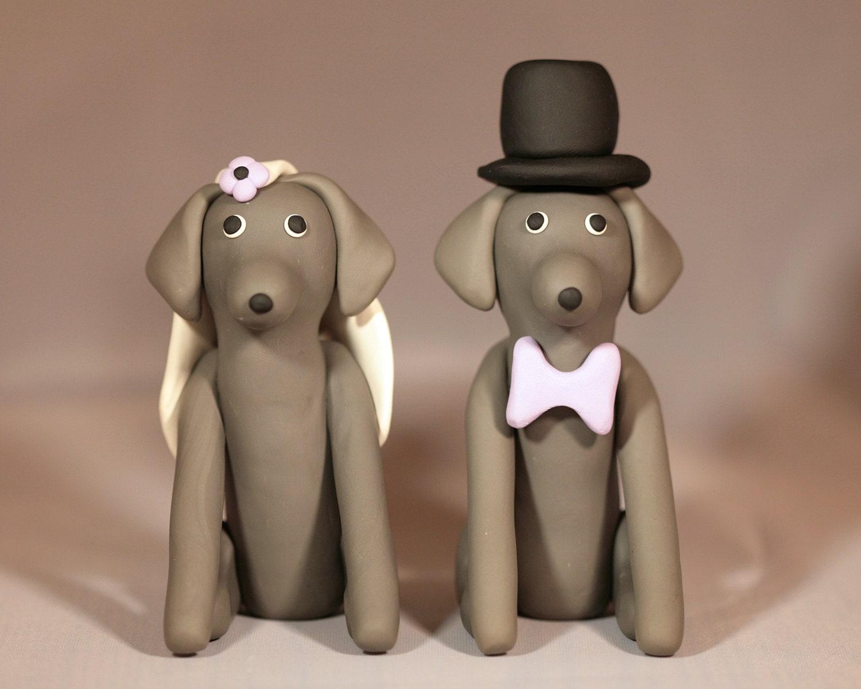 Weimaraner Dog Wedding Cake Topper by cockTHEshutter on Etsy
