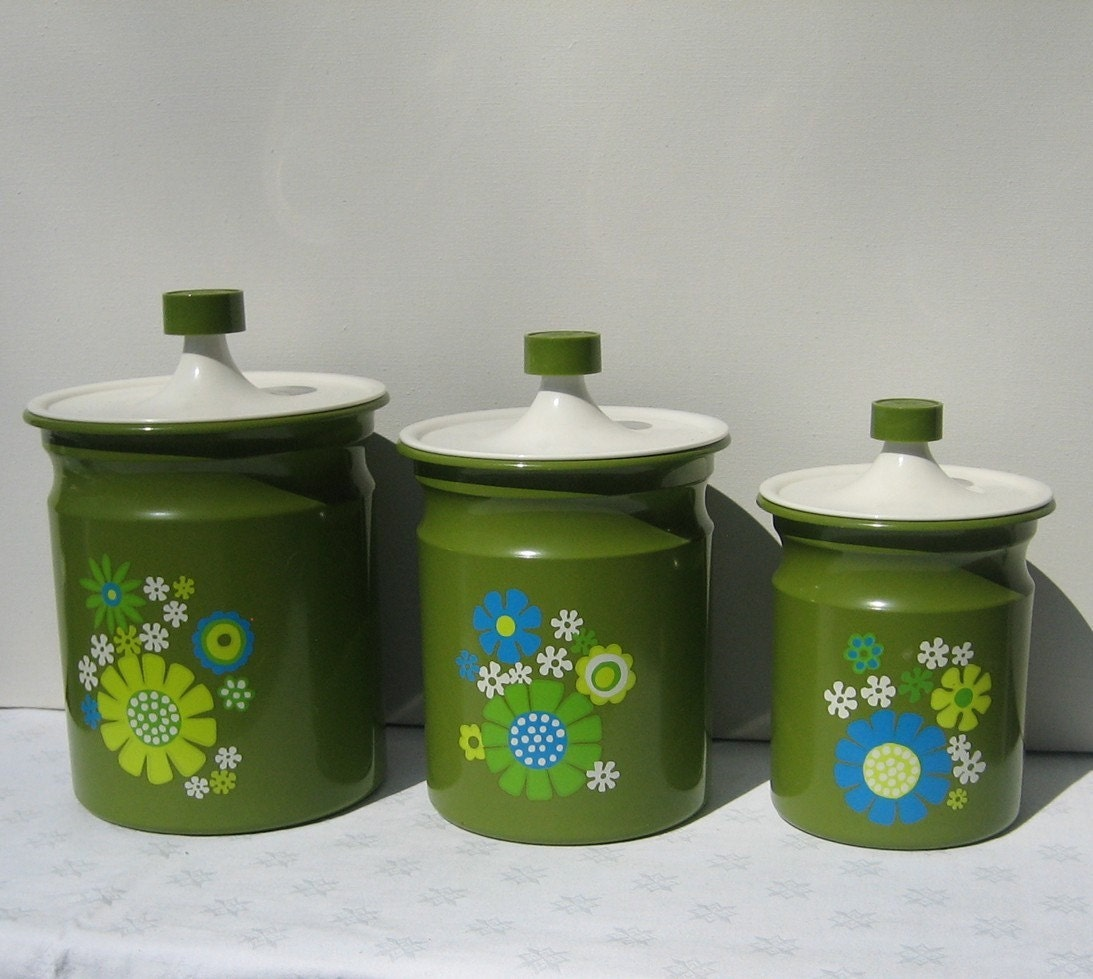 kromex canister set green enamel 1960s retro by