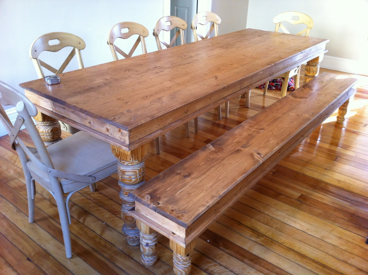 handcrafted solid pine natural finish dining table hand carved legs