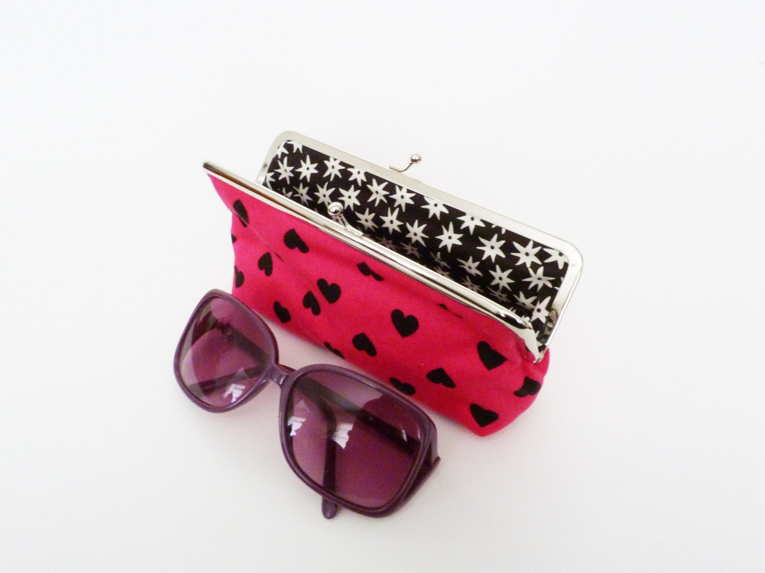 Glasses case heart fabric pink and black cotton heart fabric cotton pouch
