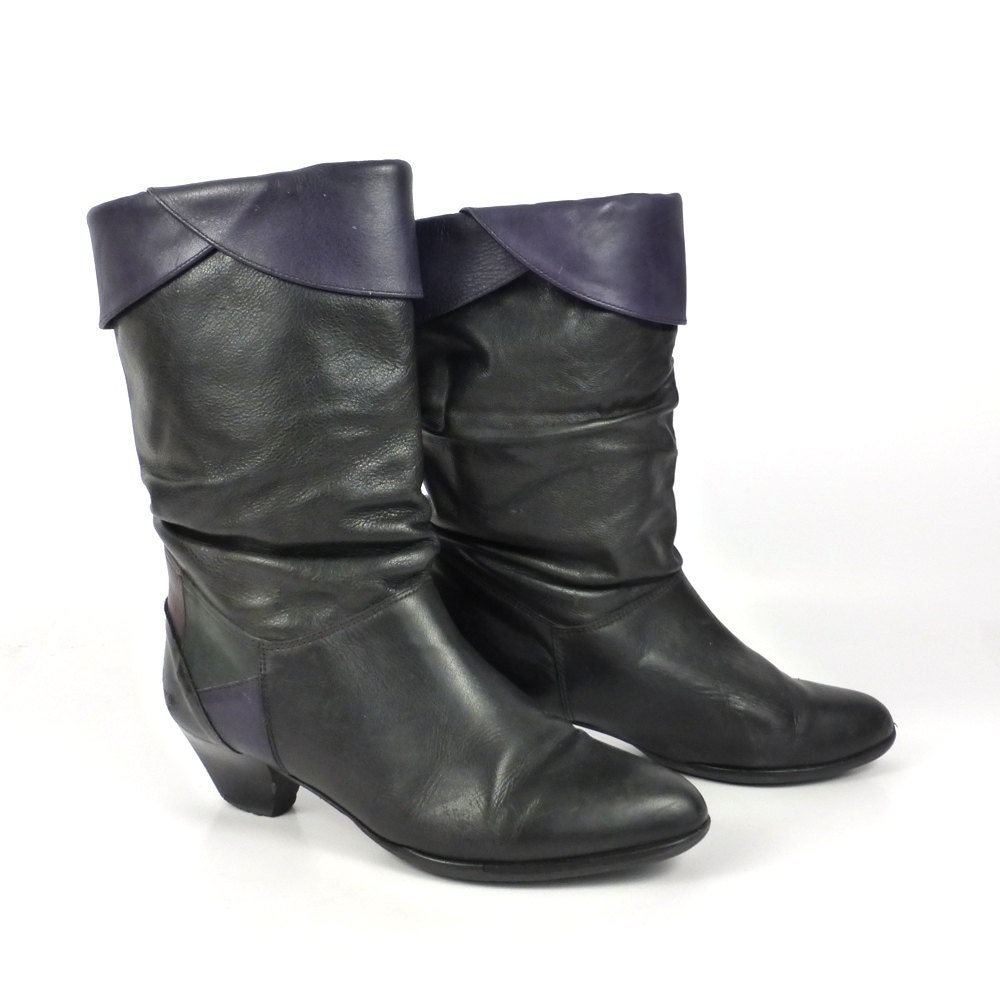 Black Leather Boots Vintage 1980s H igh Heel Women's