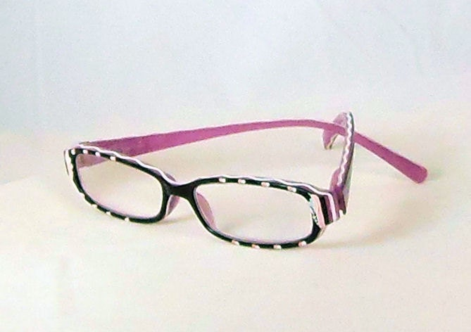 pink ribbon handpainted reading glasses pink eye by starality