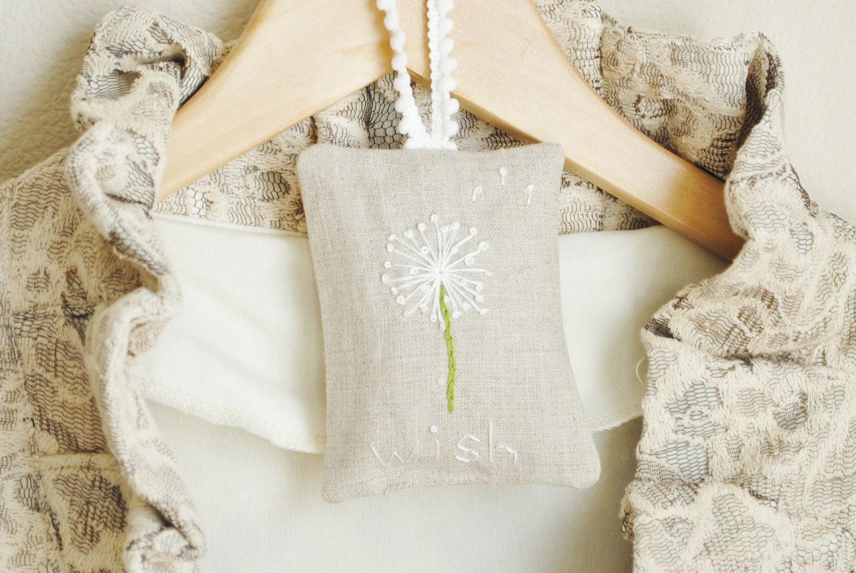 Hand Embroidered Lavender Sachet - Dandelion Wishes - Linen Lavender Sachet - Lavender Pillow - busybeezchickadeez
