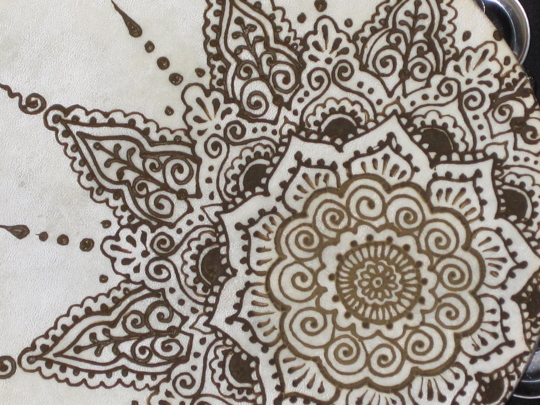 Mehndi Mandala Designs : Asymmetrical henna tambourine mandala drum mehndi by