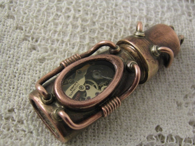Steampunk USB flash drive with glowing glass windows. 16 GIG. Copper, brass, watch parts and glass. Waterproof. - steamworkshop