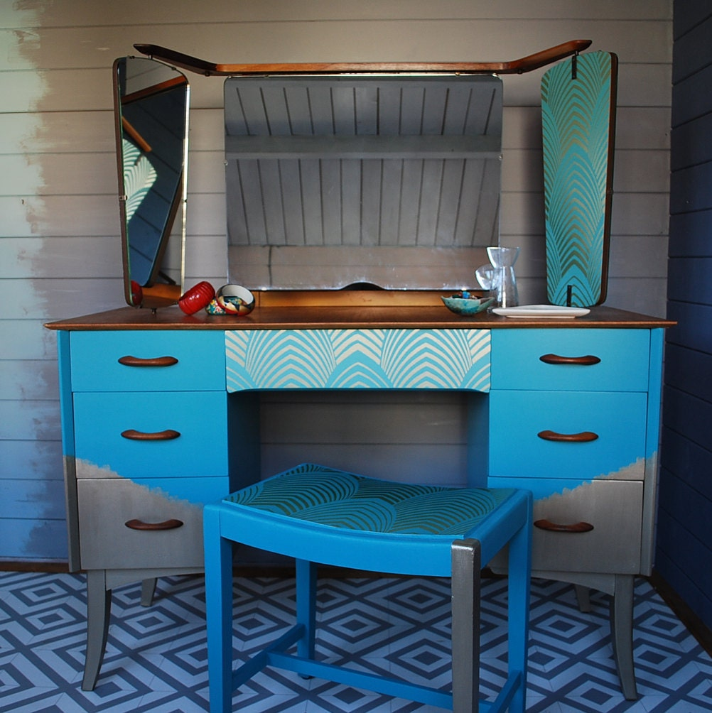 SOLD  Vintage dressing table bespoke hand painted furniture made to order teal and gold Art Deco wallpaper detail