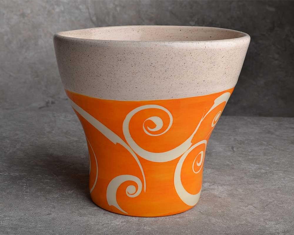 Wheel Thrown Orange Swril Vase by Symmetrical Pottery
