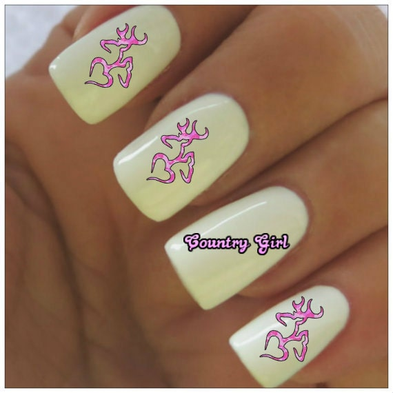 Nail Decals Pink Camo Deer Country Girl 40 Water Slide nail Decals