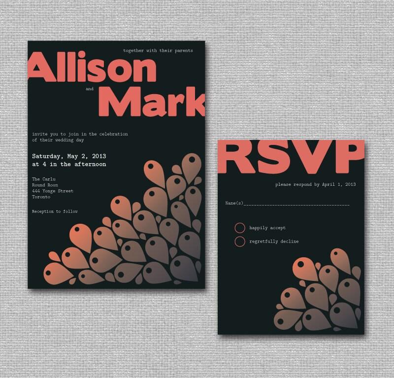 Printable DIY Wedding Invite Peacock Wedding Invite Set Navy Pink Salmon