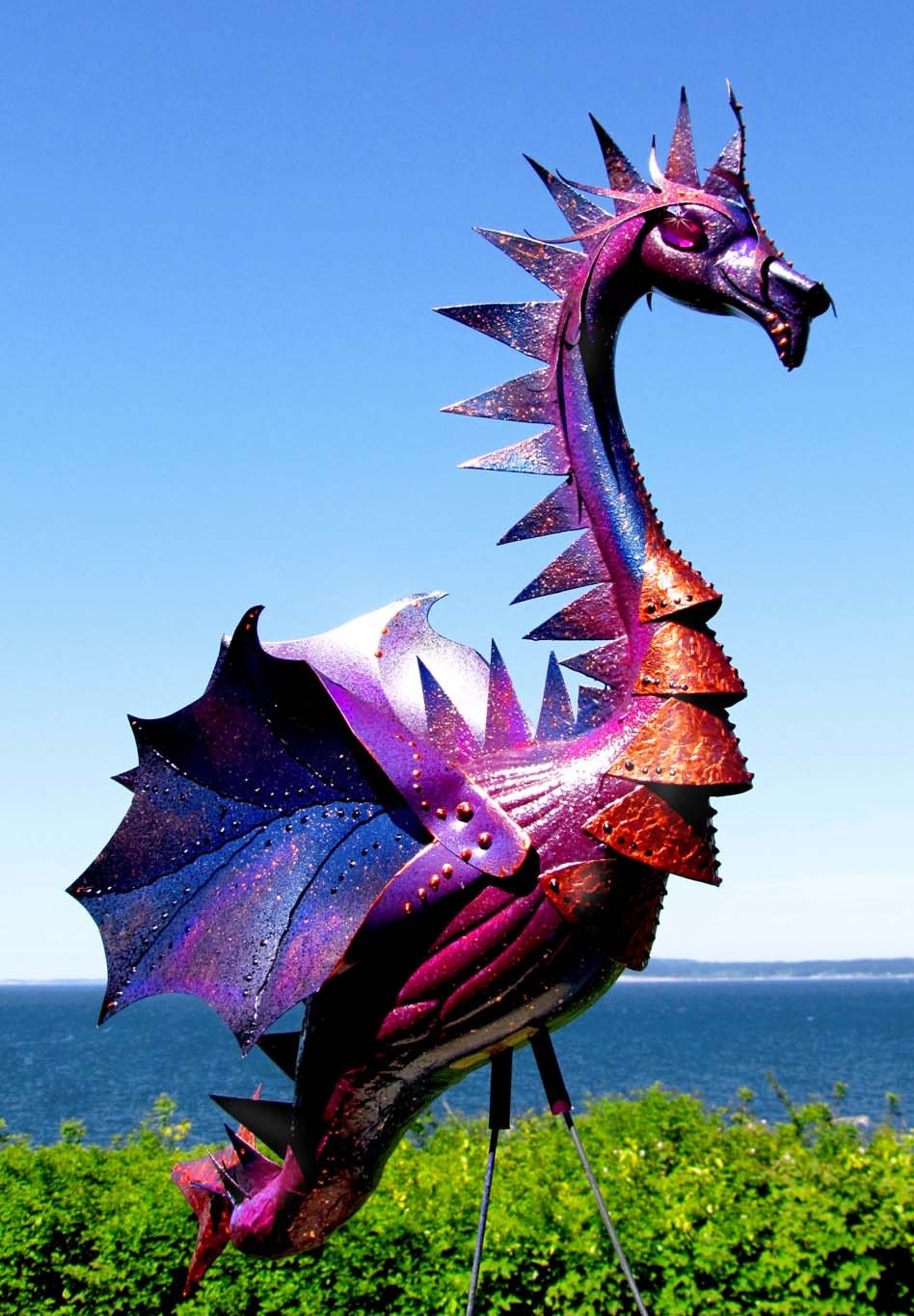 Deep Purple Dragon flamingo - handmade outdoor garden art sculpture created from a recycled plastic flamingo. - CedarMoon