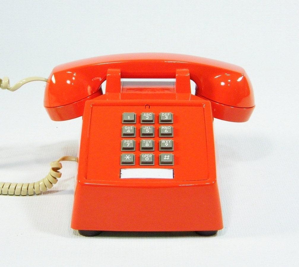 vintage telephone tangerine orange phone by ohiopicker on etsy. Black Bedroom Furniture Sets. Home Design Ideas