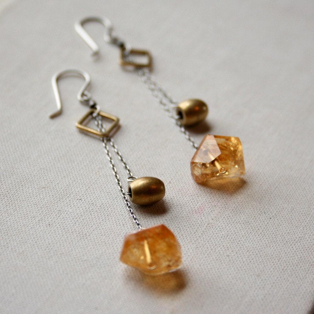 Celeste Earrings- citrine, vintage brass, sterling silver. - amyolsonjewelry