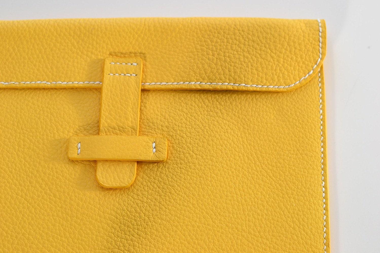 Sun Yellow Calfskin Envelop iPad Sleeve