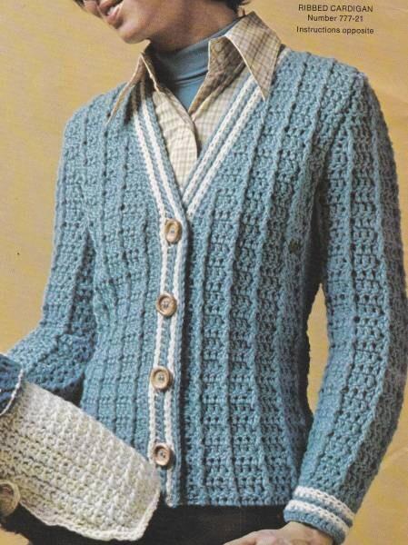 Crochet Cardigan Pattern For Beginner : Vintage Crochet Beginner Ribbed Cardigan PDF by ...