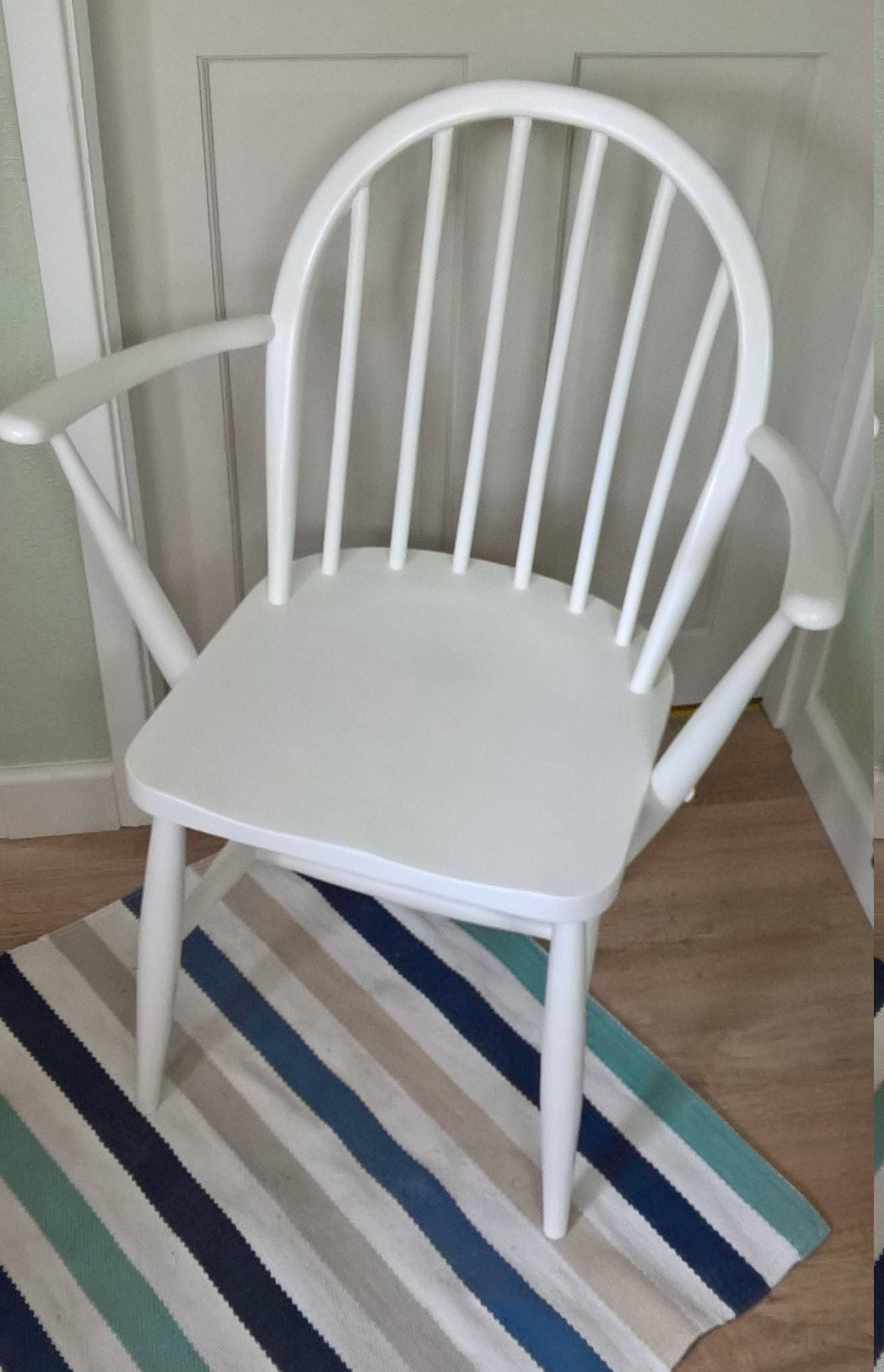 Ercol Rare 1950s Contemporary Windsor Carver Chair Refurbished in Annie Sloan Pure White