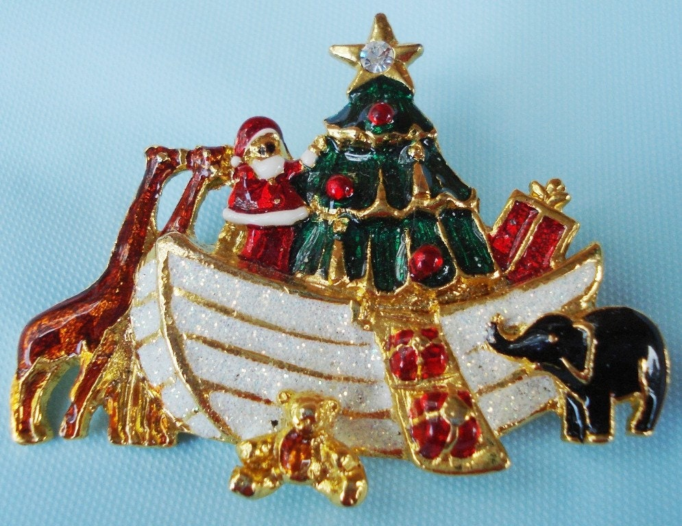 Vintage Christmas Santa's Ark Gold and Enamel Brooch - Bear, Elephant, Santa, Giraffe, 1970