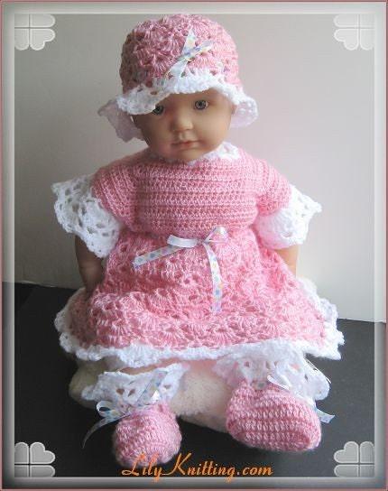 Pattern crocheted newborn baby dress Baby Dress by