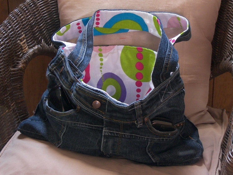 Upcycled denim jeans hand bag with retro interior
