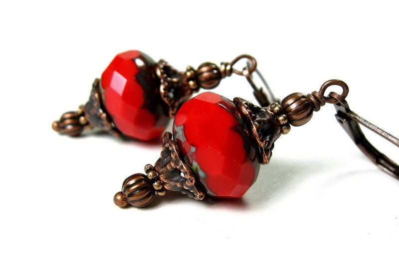 Christmas Crimson Red Earrings, Vintage Style, Glass Dangle Earrings, Antiqued Copper, Picasso Czech Glass, Jewellery, Hostess Gifts - jewelrybyNaLa