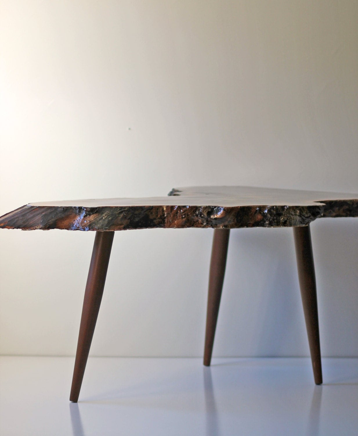 Legs For Live Edge Coffee Table: Live Edge Coffee Table With Tapered Legs By ModishVintage