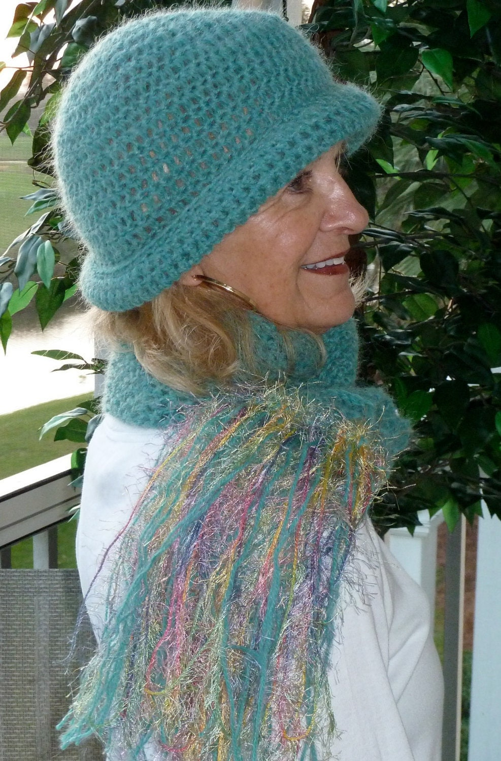 Crochet Hat and Scarf  Blue  Aquamarine  Winter Accessories Crochet Scarves And Hats