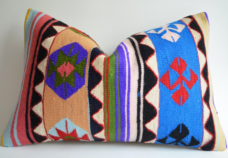 Sukan / Handwoven Vintage Turkish Kilim Pillow Cover, Decorative Pillows, Accent Pillow, Throw Pillow, Lumbar Pillow