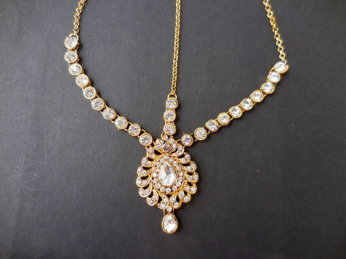 Items Similar To Diamond Gold Kundan Tikka Headpiece Hair