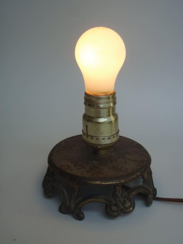 Small Squat Vintage Metal Light Lamp Base Unique By