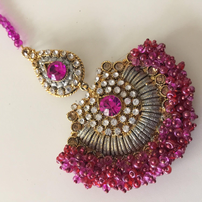 Fuchsia Hot Pink Hair Tikka Gold Tikka Accessories Hair Jewelry Hijab