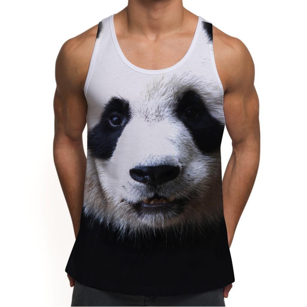 Mens Panda Face Animal Print Vest Tank Top For Festival Gym Summer Ibiza Holiday Fashion