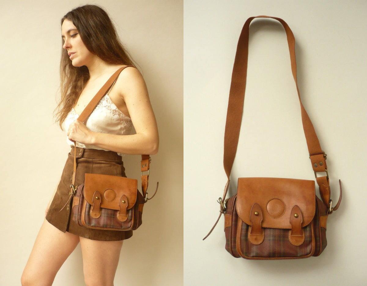 1970s Vintage Faux Leather Tartan Checked Satchel Shoulder Bag Festival Bag