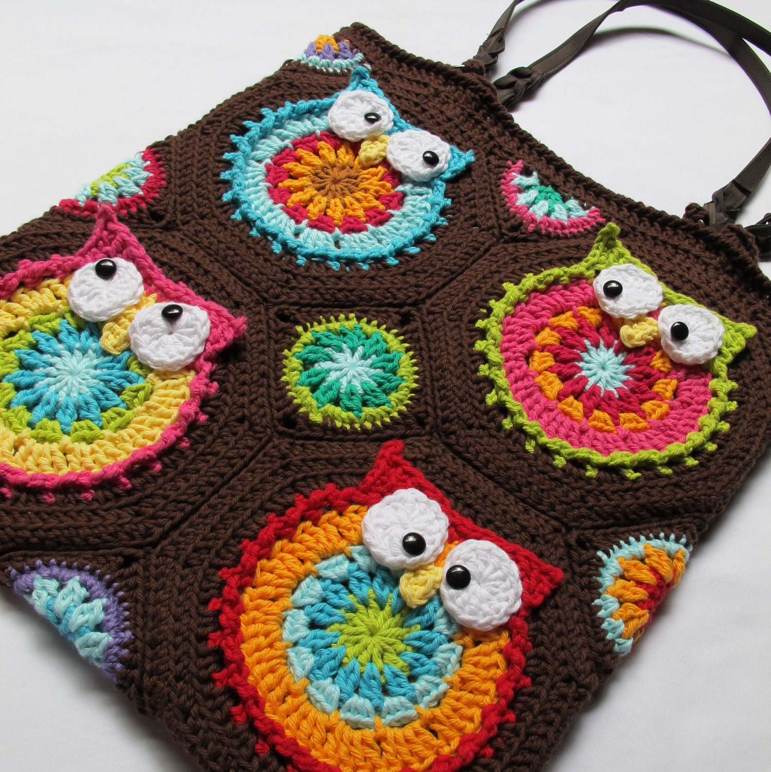 CROCHET PATTERN - Owl Tote'em - a CoLorFuL owl tote - Instant PDF Download - TheHatandI