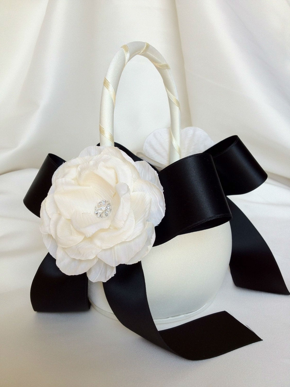 Flower Girl Baskets Black : Black and ivory flower girl basket satin by