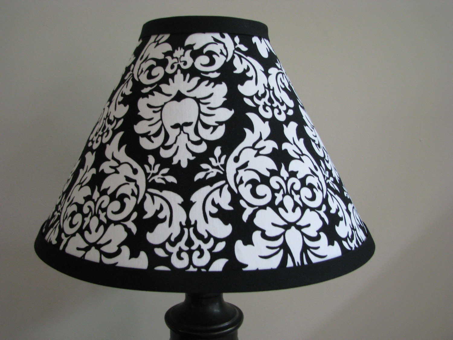 black and white damask lamp shade bedroom lamp nursery light. Black Bedroom Furniture Sets. Home Design Ideas