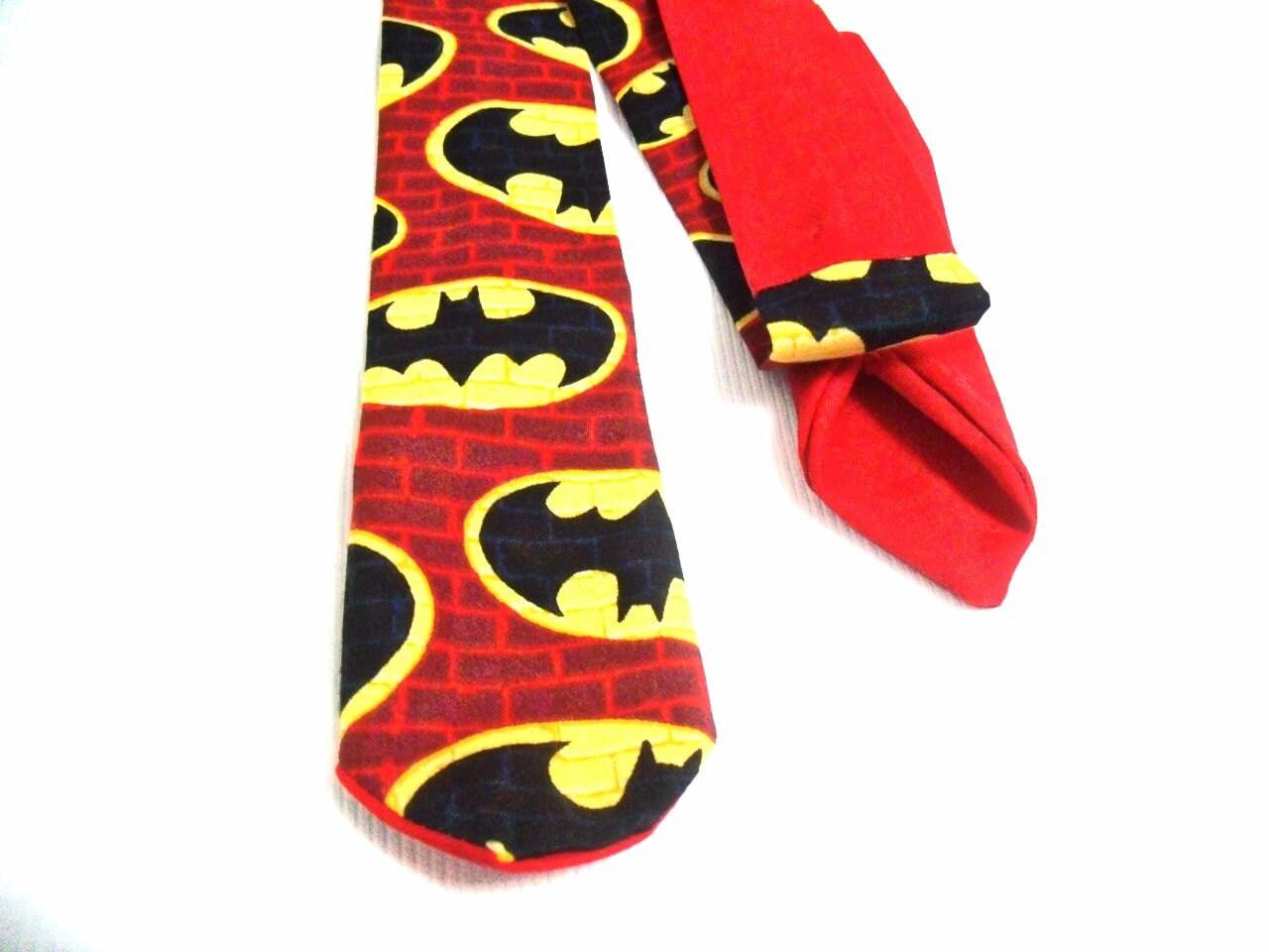 Batman Logo Mens Neck Tie Red - TheGeektonian