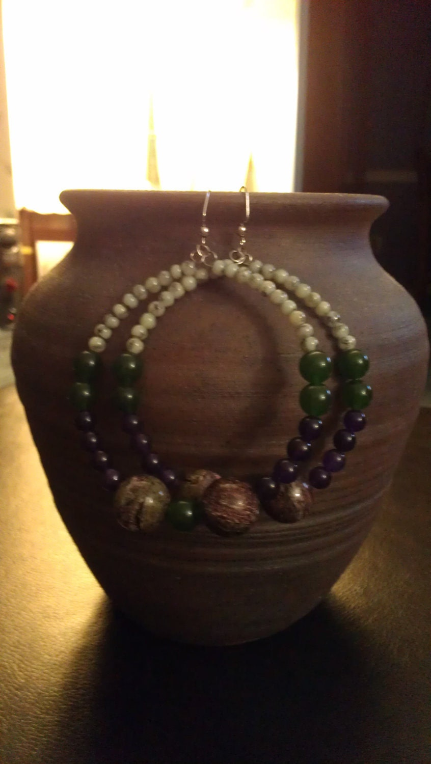 """Ceramic and Glass Beaded Hoop Earrings with Purple, Green, and Multi Beads: """"Bowl of Grapes"""""""