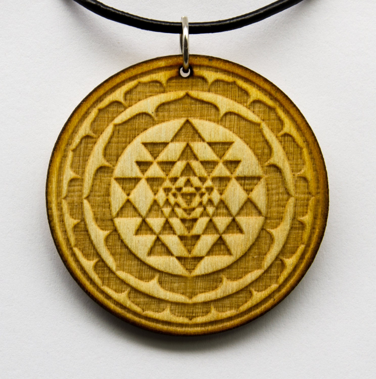 sri yantra border pendant wood request any by