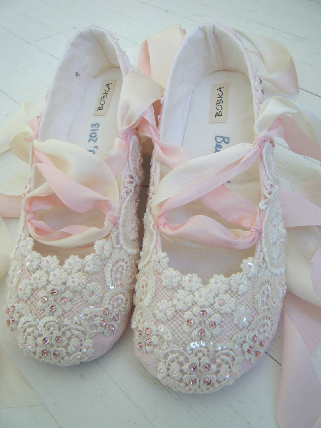 Pink And Ivory Lace Ballet Wedding Bridal Shoes BECCA By BobkaBaby