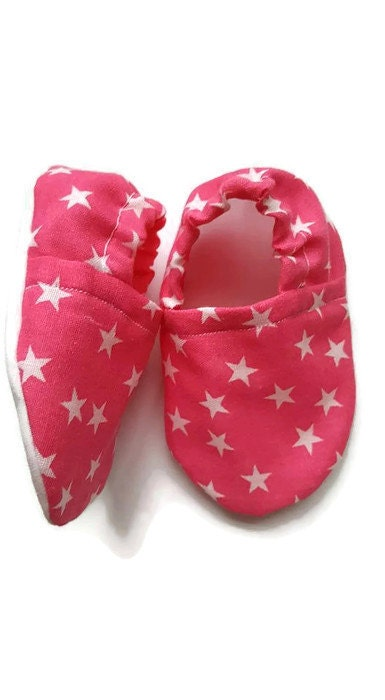 Baby ShoesBaby Girl Shoes Baby BootiesCrib ShoesPram ShoesGirls ShoesSoft SoleSlip onBaby Shower GiftNew BabyPink star shoes